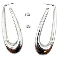 3 inch Sterling Oval Puffy Hoop Earrings