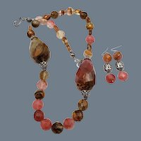 Banded Agate Sterling Statement Necklace Earrings Set