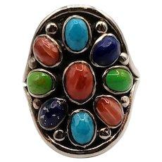 Vintage Navajo Sterling Turquoise Multi Stone Ring