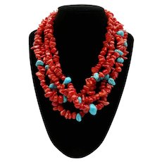 Beautiful Turquoise Coral Multi-Strand Necklace