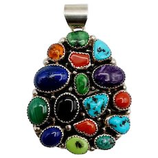 Mark Yazzie Sterling Turquoise Coral Lapis Pendant