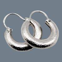 14K Textured Puffy Hoop Earrings