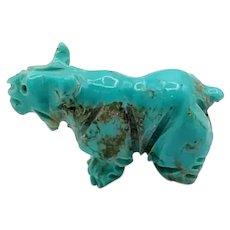 Zuni Bobcat Wildcat Turquoise Pocket Fetish Carving