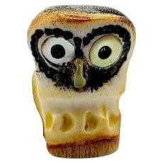 Zuni Protector Owl Carved Antler Fetish
