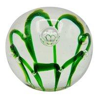 Emerald Green Flower Bubble Art Glass Paperweight