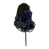 Blue Fluorite Smoky Quartz Crystal Mineral Display Specimen