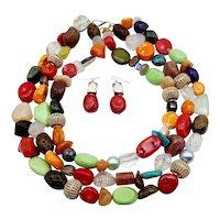 Dazzling Multi-stone Necklace Earrings Set