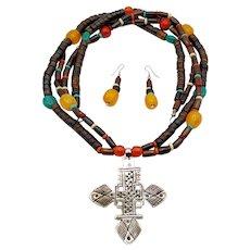 Southwestern Beaded Cross Pendant Necklace Earrings Set