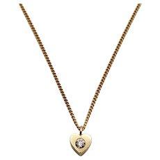 18K Diamond Dainty Heart Pendant Necklace