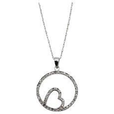 Diamond Circle Heart Pendant Necklace 10K