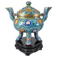 Vintage Chinese Cloisonne Enamel Censer