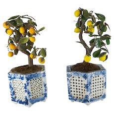 Decorative Pair Japanese Bonsai Pots with Glass Trees