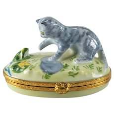 French Limoges Porcelain Peint Main Trinket Box