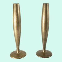 Mid Century Modernist Bronze Candle Holders or Bud Vases