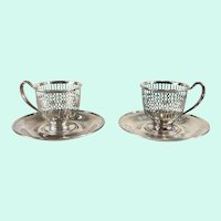 Sterling Silver Demitasse Cup Holder and Saucer