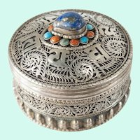 Vintage Tibetan Filigree Silver Lapis Coral and Turquoise Box