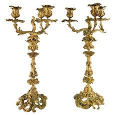Pair of French Bronze Gilt Ormolu Candlesticks Candelabras