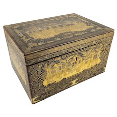 Chinese Silver and Gilt Decorated Lacquer Tea Caddy Box