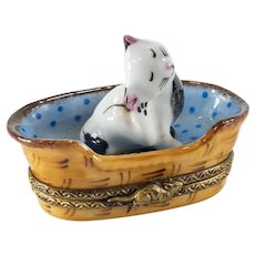 Vintage French Limoges Porcelain Trinket Box of a Cat