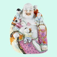 Vintage Chinese Porcelain Laughing Buddha Figure