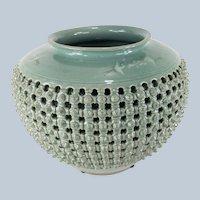 Vintage Large Korean Celadon Basket Weave Vase or Planter
