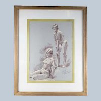 Mid Century Pastel Nude Study Drawing by Frank Beatty