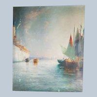 Maritime Harbor Oil Painting by Albert F Bishop