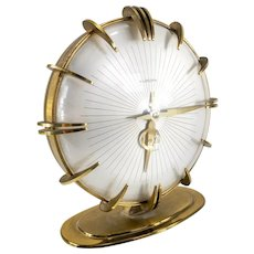 Vintage Europa Mid Century Modern Sunburst Mantle Clock