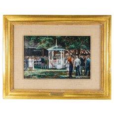 "Oil Painting ""Paddock At Saratoga"" American Lloyd Kelly"