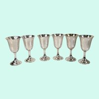 Set of 6 Sterling Silver Wine Water Goblets