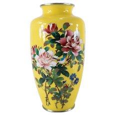 Japanese Yellow Ground Cloisonne Enamel Vase
