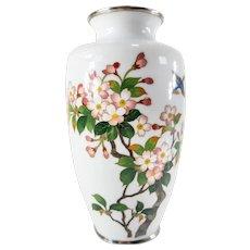 White Japanese Cloisonne Enamel Vase by Sato