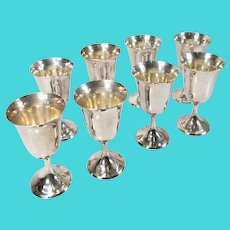 Set of 8 Stieff Sterling Silver Wine Water Goblets