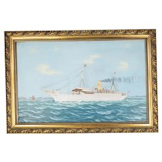 Antique Norwegian Oil on Canvas Steam Ship Painting