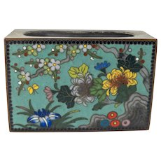 Japanese Bronze Cloisonne Match Box Holder
