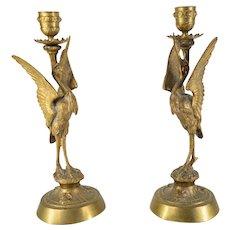 French Bronze Garniture Crane Candlestick Holders