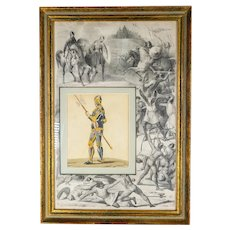 Antique Medieval Knight Hand Colored Decorative Print
