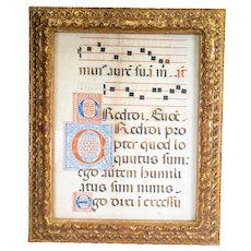 Antique Italian Florentine Illuminated Song Book Page in Gold Frame