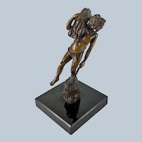 Illegibly Signed French Art Nouveau Bronze of a Boy at Harvest possibly Moreau