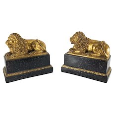 Pair of Decorative Gilt Lion Composite Bookends by Borghese
