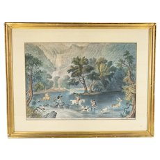 Rare Currier & Ives Hand Colored Lithograph Stag Hunt Ireland