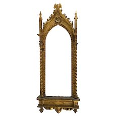 Italian Carved Florentine Giltwood Gothic Revival Frame