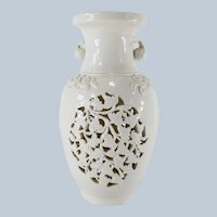 Chinese Hollywood Regency Blanc De Chine Vase