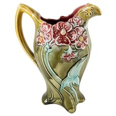 French Majolica Art Nouveau Pitcher by Frie Onnaing
