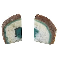 Vintage Mid Century Modern Style Green Agate Geode Bookends