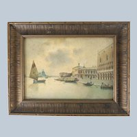 Italian Watercolor of Venice Ducal Palace Signed Marini