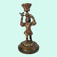 Antique American Bronze Pilgrim Candlestick
