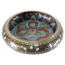 Chinese Cloisonne Enamel Low Bowl with Dragon Decoration
