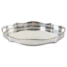 English Sheffield Silver Plate Serving Tray with Gallery