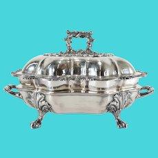 English Sheffield Silver Warming Dish By Walker Knowles